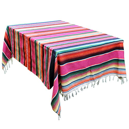 OurWarm 59 x 84 Inch Mexican Blanket Striped Tablecloth for Mexican Party Decorations, Large Square Cotton Mexican Serape Blanket Outdoor Table Cover Table Cloth