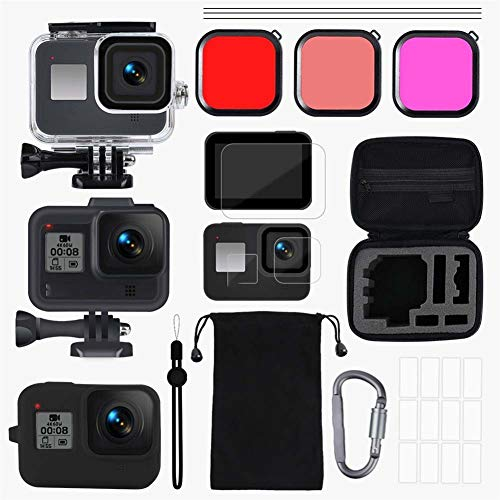 Action Camera Accessory Kit For GoPro accessoires Set Go Pro Hero 8 Kit EVA Case Tempered Film waterdichte behuizing Case Red Filter Frame Silicone Protector
