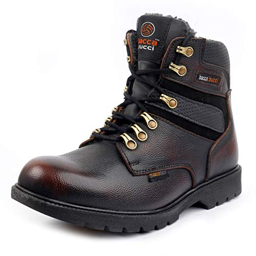 Bacca Bucci Mens 6 inches Premium Steel Toe Cap Real Grain Leather Outdoor Laceup Boots with Fur/Warranted Qualtiy & Durable Boot- Brown