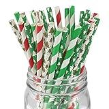 紙ストロー ペーパーストロー 紙質 喫茶店 業務用 バー用 クリスマス スノーフレーク ストライプ 飲み物ストロー DIY 飾り 使い捨て食器 レッド グリーン 100本