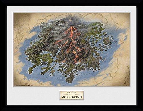 1art1 The Elder Scrolls Online - Morrowind, Map Gerahmtes Bild Mit Edlem Passepartout | Wand-Bilder | Kunstdruck Poster Im Bilderrahmen 40 x 30 cm