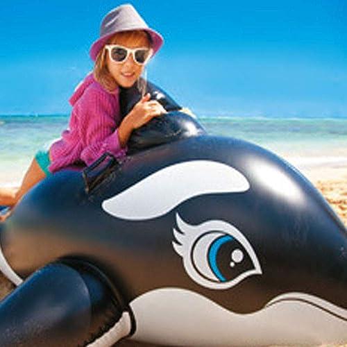 ETH Aufblasbarer Sich Hin- Und Herbewegender Bett-Wal-Delphin-Berg Der Kinder Umweltfreundlicher Ungiftiger Schwimmen-Ring Cool (Style   schwarz whales)