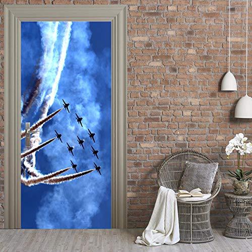 Deurschildering Trap 3D Vliegtuig Stijgende ideeën Fotobehang Huis Woonkamer Muurschildering Inclusief Plakken, Woondecoratie - Muurstickers, Verwijderbare Waterdichte Vinyl Stickers