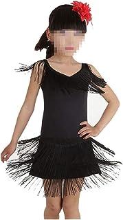 ドレスプリンセスコスチューム 女の子用ダンスコスチューム衣装タッセルタッセルワンピース 肌にやさしい通気性 (色 : ブラック, サイズ : 160cm)