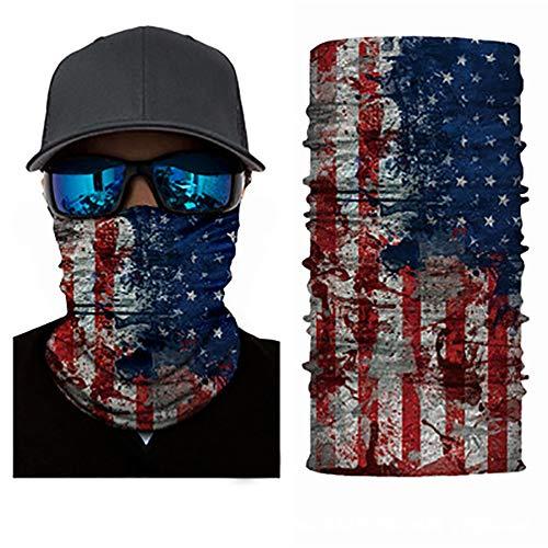 Face Mask Bandanas Flag Skull Headband Neck Gaiter Seamless Dust Mask Sun UV Dust Wind Proof for Outdoor Hiking