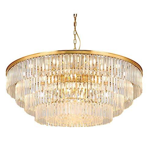Moderno cristal de cristal LED lámparas de iluminación, salón comedor decoración LED Luces de araña, lámpara colgante de suspensión luminaria-negro. Oval 100cm WULOVEMI (Color : Golden)