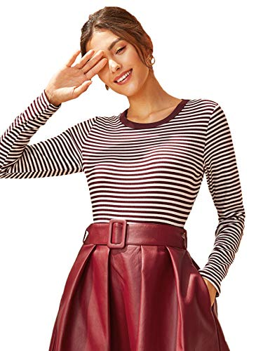 Milumia Women's Casual Striped Ribbed Tee Shirt Knit Crop Top Burgundy Large