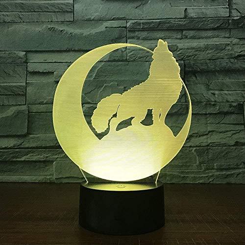 3D Nachtlicht Wolf Moon Neuheit 3D LED Lampe Nachtlicht Power Bank USB LED Lampe Drahtlose Wandlampe USB Dekor Home Geschenk 7 Farben ändern