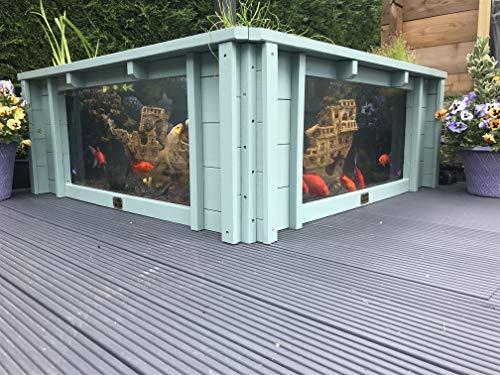 Clear View Garden Aquarium Lotus Square Verhoogde Tuin Vijver met Ramen (Zeegras Groen)