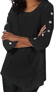 Aniywn Women Ladies 3/4 Sleeve Button Splice Casual Tunic Shirt Solid Irregular Hem Plus Size Tops Blouse