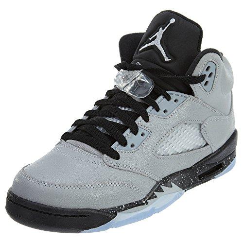 Nike Nike Mädchen Air Jordan 5 Retro GG Basketballschuhe, Gris (Wolf Grey/Black-Black), 37.5 EU
