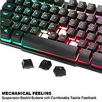 BAKTH Tastiera e Mouse da Gioco, Colore da Arcobaleno LED Retroilluminato USB Gaming Tastiera e Mouse per Videogiochi o Lavoro, Paragonabile a Una Tastiera Meccanica #5