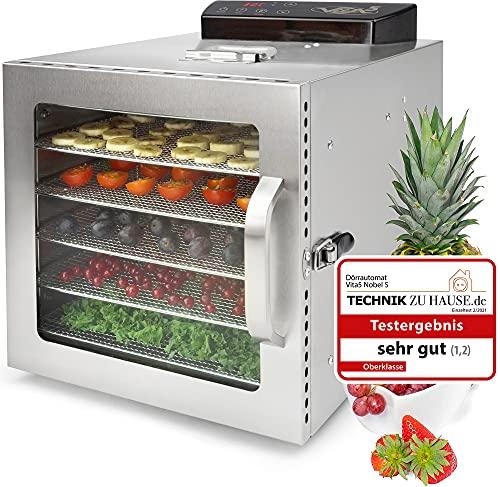 Deshydrateur Alimentaire Inox VITA5 Nobel S • Déshydrateur 6 Plateaux • Minuteur 24 heures • Température de 30 à 90ºC • 400 Watt • Panneau de contrôle LED • Deshydrateur de fruit et legumes