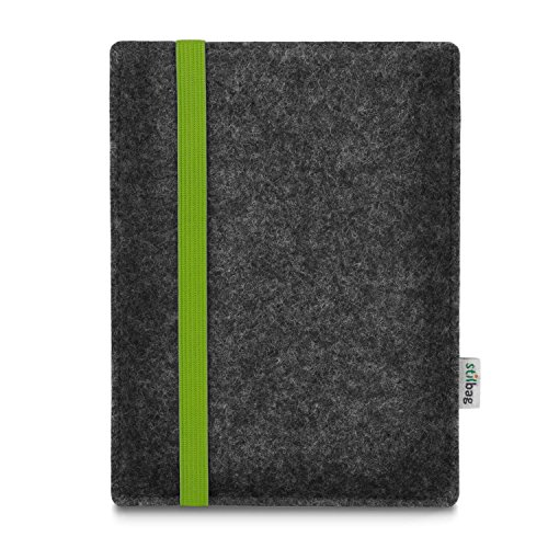 stilbag e-Reader Bag, Leon, for Amazon Kindle Oasis (9th Generation), Wool Felt Anthracite, Rubber Band Green
