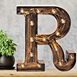 Pooqla Vintage Light Up Marquee Letters with Lights – Illuminated Industrial Style Lighted Alphabet Letter Signs - Coffee Bar Apartment Bedroom Wall Home Initials Decor - R