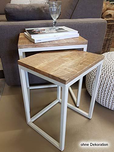 casamia salontafelset 2 stuks woonkamer tafel salontafel Dallas metalen frame zwart of wit modern Zuiver wit - Tabacco
