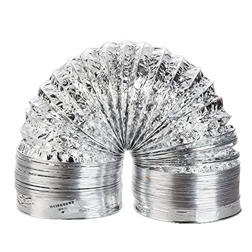 Vegena Aluflexrohr,Aluminium Luftkanalschlauch,abluftschlauch trocknerGroßer Flexibler Aluminium-Ventilator-Lüftungsschlauch für Dunstabzugshaube Bad Hydroponikraum (100 X 2 M)