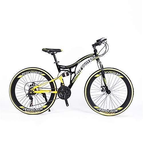 WQY Bicicletas De Montaña, Bicicleta De Montaña Rígida De 26 Pulgadas, Cuadro De Doble Suspensión Y Bicicleta De Montaña con Tope De Suspensión, Todoterreno, 21 Velocidades,Amarillo