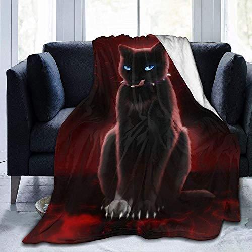 LLMMM - Manta de microforro polar ultra suave Warrior Cats, manta cálida de felpa, acogedora y suave para silla, cama, sofá o sofá de 80 x 60 cm