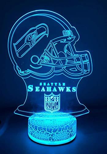 3d nachtlicht farbwechsel dekor lampe Seattle Seahawks,Stromversorgung über USB-Ladegerät Ist das perfekte Geschenk für Eltern und Freunde - Berührungsschalter