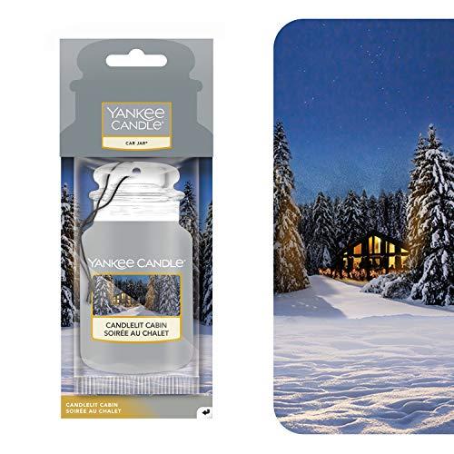 YANKEE CANDLE Car Jar profumatore per Auto, in Baita a lume di Candela, Collezione Natale in Montagna