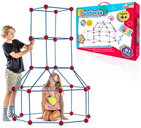 Fun Forts Kids Tent for Kids 81 Pack STEM Toys Fort Building Kit Building Toys Play Tent Indoor product image