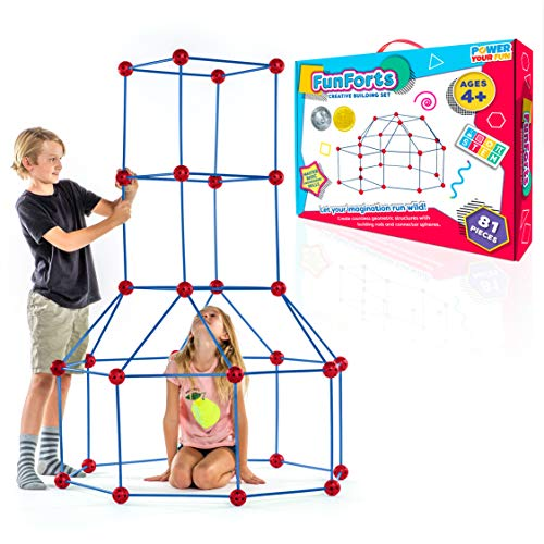 Fun Forts Kids Tent for Kids - 81 Pack STEM Toys Fort Building Kit, Building Toys Play Tent Indoor...