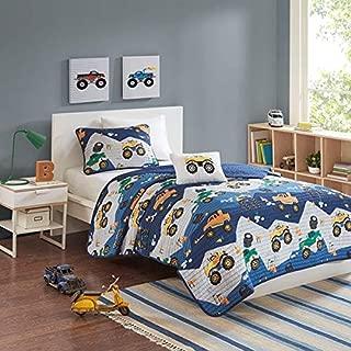Kids Bedding Boys Orange & Green Monster Trucks Blue Twin Quilt, Sham, Toss Pillow