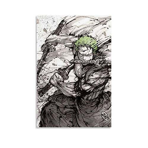 Zoro One Piece Fanart Poster Decorative Painting Canvas Wall Art Living Room Posters Bedroom Painting 12x18inch(30x45cm)
