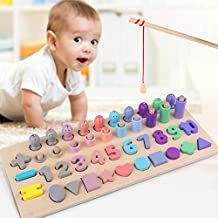 Roebii Wooden Puzzle Stacker Toy, Fishing Board Toys & Games Number Counting Toys & Digital Blocks Learning Puzzle Wooden Numbers For Kids Toddlers Preschool Early Learning Educational Toys