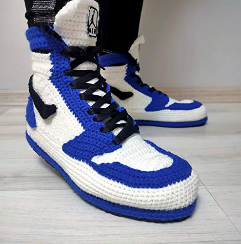 Crochet Jordan Blue Handmade Wool Home Slippers, Memory Foam Slipper Soft Plush Indoor or Outdoor Slip on Knit Sneakers