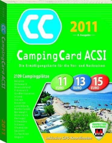 ACSI Camping Card 2011 + Ermäßigungskarte für die Vor- und Nachsaison