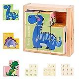 colmanda Puzzles de Madera for Kids, Animales Rompecabezas Montessori Juguetes Bebés, Juguetes Educativo Niño Puzzle Bloques de Cubos de Madera para 1 2 3 4 5 6 Años Niños Regalo de Cumpleaños Navidad