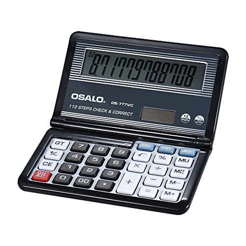 Folding Desktop Electronic Calculator 12 Digits 112 Steps Check & Correct Battery & Solar Dual Powered Larger Display for Home School Student Business Calculating