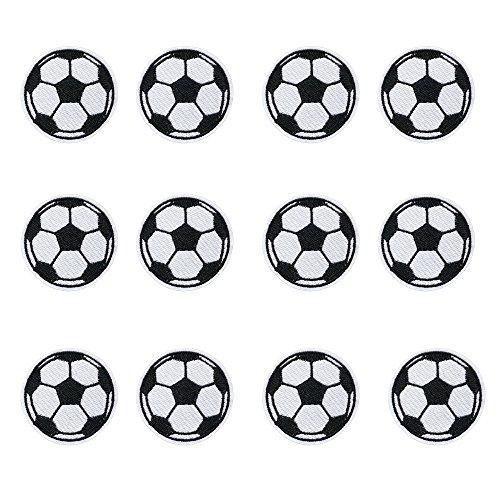 Patches/Aufnäher mit Fußballmotiv, 12 Stück, zum Aufnähen/Aufbügeln, für Jeans, Kinderkleidung, Rucksäcke, Schals, Jacken, Handarbeit, Applikationen