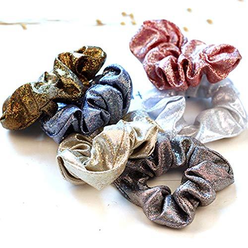 Egurs Metallic Haar Scrunchies 6 stks Glanzende Elastische Haarbanden Paardenstaart Houder Haaraccessoires