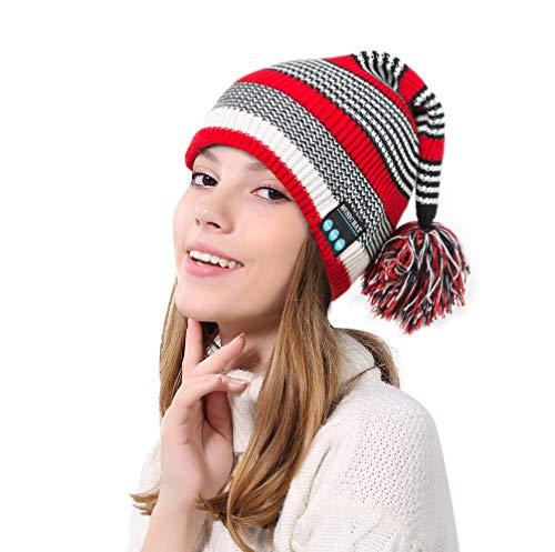 SSCJ Bluetooth Cap kerstmuts met bal om naar muziek te luisteren, bellen, pluche gebreide hoed voor mannen en vrouwen koude warme muziek pet, camping, barbecue en andere outdoor activiteiten