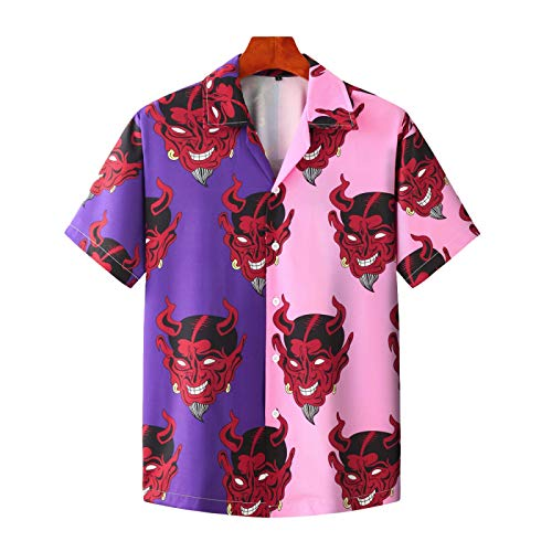 Camisas de Manga Corta para Hombres, Camisas Casuales de Manga Corta de Playa, Ligeras y Transpirables, Retro de Verano Europeo y Americano XXL