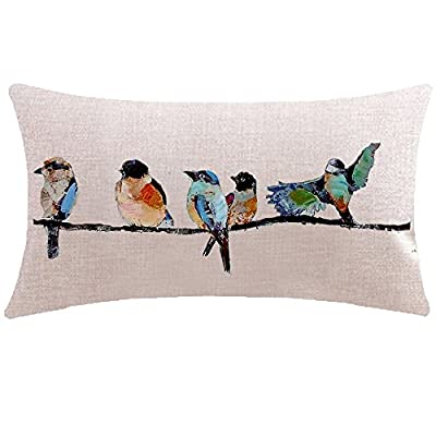 ITFRO Hand-Painted Oil Painting Rustic Forest Wildlife Birds Tree Branches Waist Lumbar Cotton Linen Throw Pillow Case Cushion Cover Long Oblong 12x20 inches