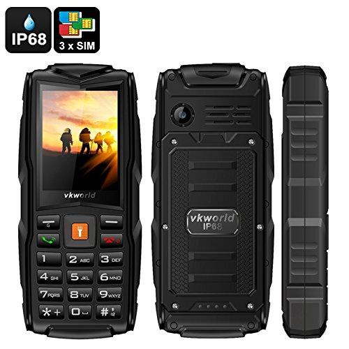 VKWORLD STONE V3 TELEFONO CELLULARE RESISTENTE ROBUSTO RUGGED DUAL SIM ANTIURTO POWER BANK 5200MAH IMPERMEABILE IP67 WATERPROOF RESISTENE ACQUA CORAZZATO DA LAVORO CANTIERE SPORT ESTREMI (NERO)