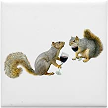 CafePress - Squirrels Drinking Wine Tile Coaster - Tile Coaster, Drink Coaster, Small Trivet