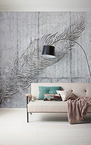 Komar - fleece fotobehang betonveren - 300 x 250 cm - behang, muur decoratie, veren, betonnen wand, steenlook - 169-DV3