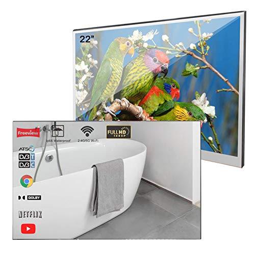 Soulaca 22 Zoll Smart Badezimmerspiegel LED-Fernseher Android 9.0 WiFi Hotel Werbewand (DVB-C/DVB-S)