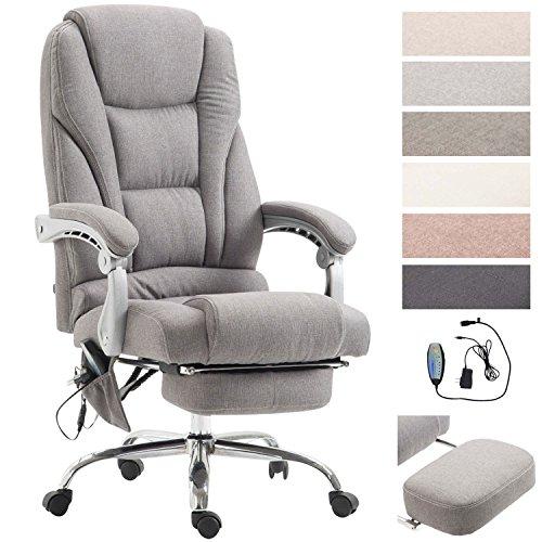 CLP Chefsessel Pacific Stoff mit Massagefunktion l Höhenverstellbarer Bürostuhl mit ausziehbarer Fußablage l Max. belastbar bis 150 kg Grau