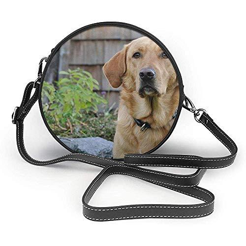 TURFED PU Bolsa de hombro redonda Moda Perro Labrador Naturaleza Brillante Abrigo...