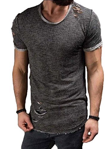 Men's Short Sleeve Crew Neck Slim Fit Fitness T-shirt Tops with Ripped Holes (US-XS, Grey)