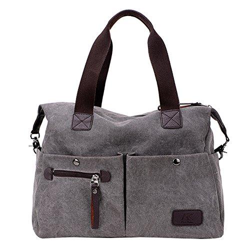 PB-SOAR Unisex Vintage Canvas Shopper Schultertasche Umhängetasche Handtasche Reisetasche (Grau)