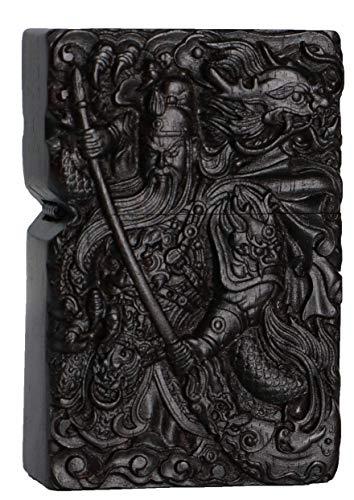 Natürliches Ebenholz Schwarz Holz geschnitzt Feuerzeug Außengehäuse für Zippo Insert Kit (Guan Gong Yu Krieger Drache 2 #)