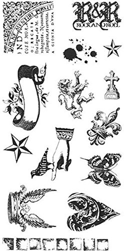 Stampington & Co Rock and Roll Cling Rubber Stamp Vintage Inspired