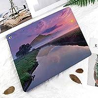 IPad 2/3/4 ケース 超薄型 超軽量 TPU ソフトスマートカバー オートスリープ機能 衝撃吸収 2つ折りスタンドApple iPad 4世代、新iPad 3(3rd Gen)&iPad 2まだ霧の紫色の晴れた空と背景に大きな山の湖の眺め